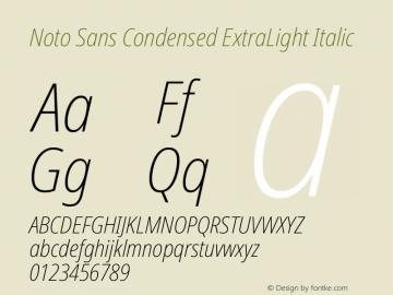 Noto Sans Condensed ExtraLight Italic Version 2.004图片样张