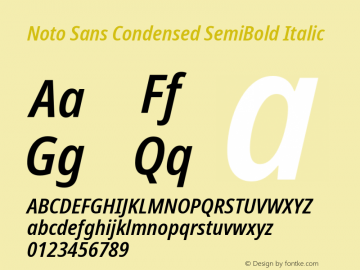Noto Sans Condensed SemiBold Italic Version 2.004图片样张