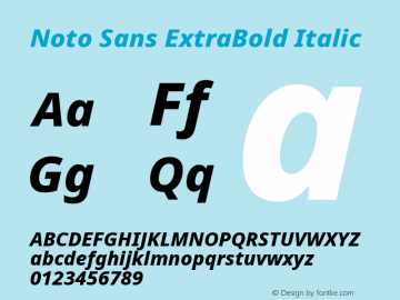 Noto Sans ExtraBold Italic Version 2.004图片样张