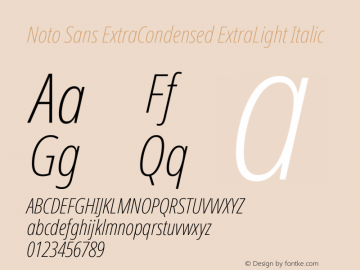 Noto Sans ExtraCondensed ExtraLight Italic Version 2.004图片样张