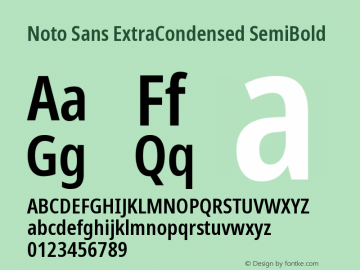 Noto Sans ExtraCondensed SemiBold Version 2.004图片样张