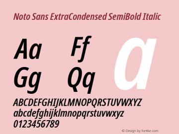 Noto Sans ExtraCondensed SemiBold Italic Version 2.004图片样张