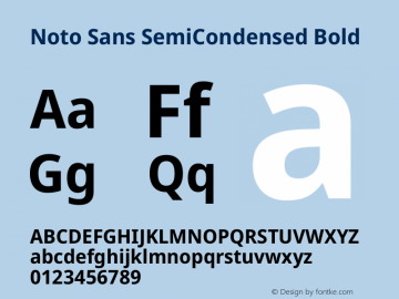 Noto Sans SemiCondensed Bold Version 2.004图片样张