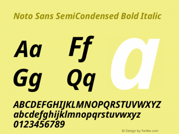 Noto Sans SemiCondensed Bold Italic Version 2.004图片样张