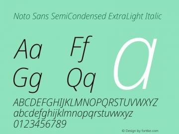 Noto Sans SemiCondensed ExtraLight Italic Version 2.004图片样张