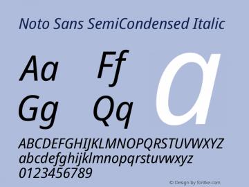 Noto Sans SemiCondensed Italic Version 2.004图片样张