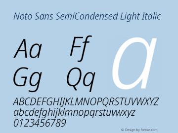 Noto Sans SemiCondensed Light Italic Version 2.004图片样张