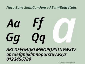 Noto Sans SemiCondensed SemiBold Italic Version 2.004图片样张