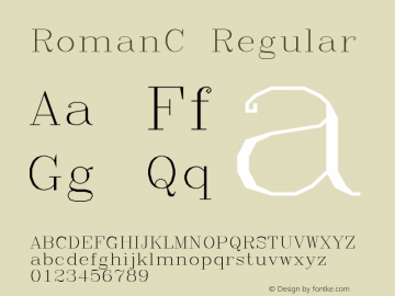 RomanC Regular Macromedia Fontographer 4.1.3 4/14/97 Font Sample