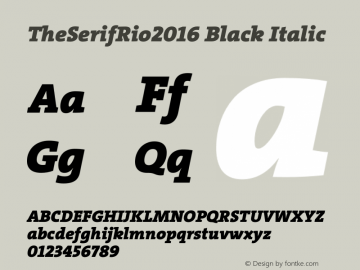 TheSerifRio2016 Black Italic Version 1.004 Font Sample