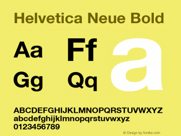 Helvetica Neue Bold Version 1.102 Font Sample