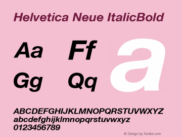 Helvetica Neue ItalicBold Version 1.102 Font Sample