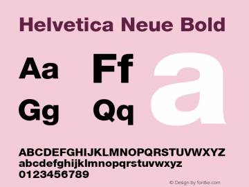 Helvetica Neue Bold Version 1.02 Font Sample