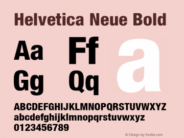 Helvetica Neue Bold Version 1.00 Font Sample