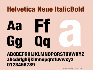 Helvetica Neue ItalicBold Version 1.00 Font Sample
