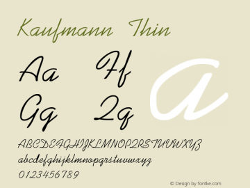 Kaufmann Thin Version 001.000 Font Sample