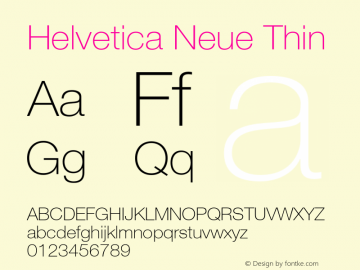 Helvetica Neue Thin 001.001 Font Sample