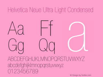 Helvetica Neue Ultra Light Condensed 001.000 Font Sample
