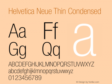 Helvetica Neue Thin Condensed 001.000 Font Sample