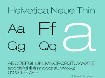 Helvetica Neue Thin 001.000 Font Sample