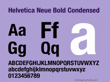 Helvetica Neue Bold Condensed 001.000 Font Sample