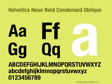 Helvetica Neue Bold Condensed Oblique 001.000 Font Sample
