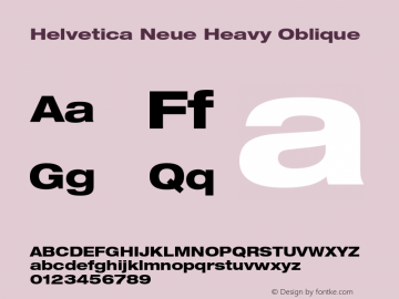 Helvetica Neue Heavy Oblique 001.000 Font Sample