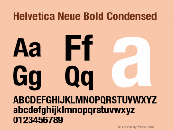 Helvetica Neue Bold Condensed Version 001.000 Font Sample