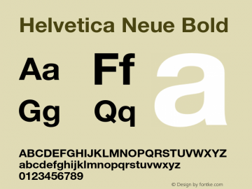 Helvetica Neue Bold 001.101 Font Sample