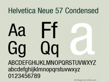 Helvetica Neue 57 Condensed OTF 1.0;PS 001.000;Core 1.0.22 Font Sample
