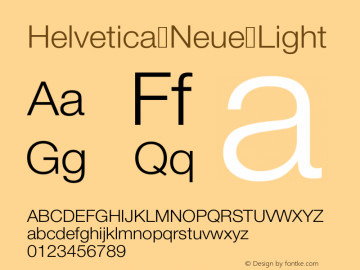 Helvetica Neue Light Version 001.000图片样张