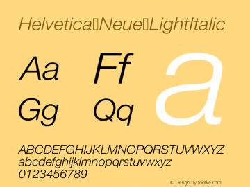 Helvetica Neue LightItalic Version 001.000图片样张