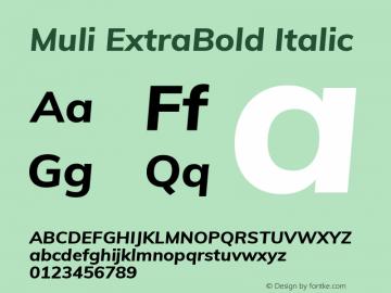Muli ExtraBold Italic Version 2.001 Font Sample