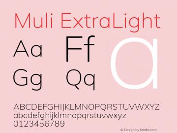 Muli ExtraLight Version 2.001 Font Sample