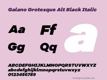 Galano Grotesque Alt Black Italic Version 1.000;PS 001.000;hotconv 1.0.70;makeotf.lib2.5.58329图片样张