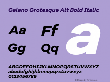 Galano Grotesque Alt Bold Italic Version 1.000;PS 001.000;hotconv 1.0.70;makeotf.lib2.5.58329图片样张
