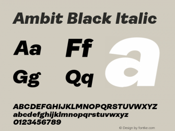 Ambit Black Italic Version 1.020;hotconv 1.0.109;makeotfexe 2.5.65596图片样张