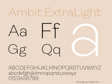 Ambit ExtraLight Version 1.020;hotconv 1.0.109;makeotfexe 2.5.65596图片样张