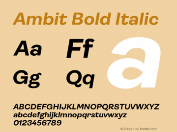 Ambit Bold Italic Version 1.020;hotconv 1.0.109;makeotfexe 2.5.65596图片样张