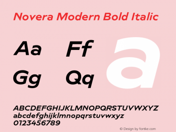 Novera-ModernBoldItalic Version 1.000;PS 001.000;hotconv 1.0.88;makeotf.lib2.5.64775图片样张