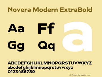 Novera-ModernExtraBold Version 1.000;PS 001.000;hotconv 1.0.88;makeotf.lib2.5.64775图片样张