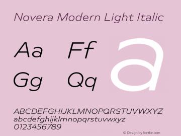 Novera-ModernLightItalic Version 1.000;PS 001.000;hotconv 1.0.88;makeotf.lib2.5.64775图片样张