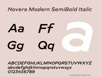 Novera-ModernSemiBoldItalic Version 1.000;PS 001.000;hotconv 1.0.88;makeotf.lib2.5.64775图片样张