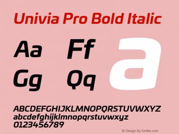 UniviaProBold-BoldItalic Version 001.000图片样张