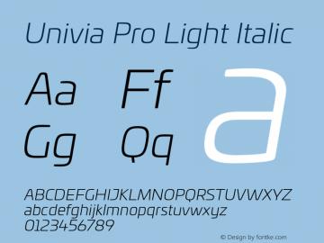 UniviaProLight-Italic Version 001.000图片样张