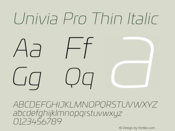 UniviaProThin-Italic Version 001.000图片样张
