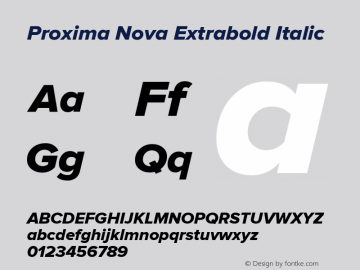 Proxima Nova Extrabold Italic Version 2.003图片样张