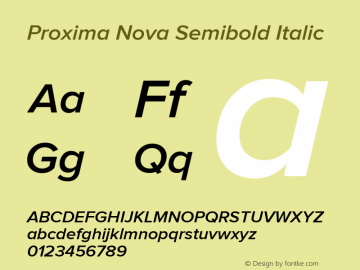 Proxima Nova Semibold Italic Version 2.003图片样张