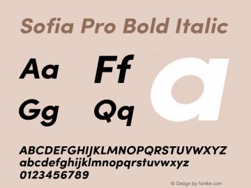 SofiaPro-BoldItalic Version 2.000图片样张