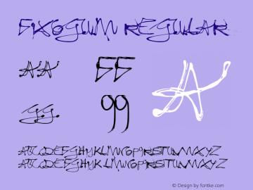 Fixogum Regular Macromedia Fontographer 4.1.4 10.01.2003 Font Sample